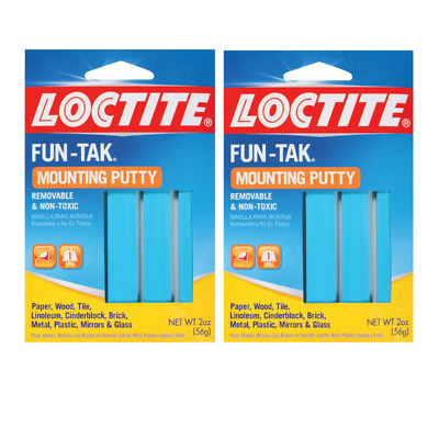 Reusable Removable Adhesive Poster Putty Sticky Mounting Blue Fun Tak Pack of 2