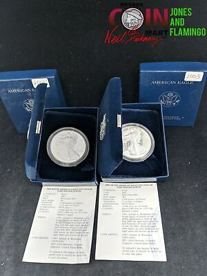 Lot Of 2 - 1 Ozt Silver Proof American Silver Eagle $1 Coins, 2002 & 2003 #25745