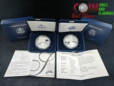 Lot Of 2 Us American Silver Eagle 1 Oz Fine Silver Proof Coins 07 & 11 #25896