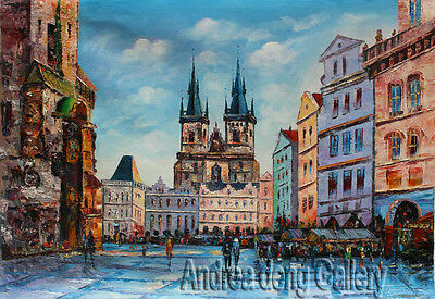 Original Hand Painted knife Prague Oil painting Wall art Deco on Canvas prg121