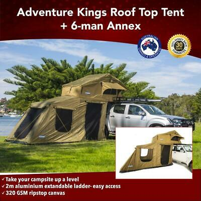 Premium Roof Top Tent With 6 Man Annex 4WD Offroad Camper Trailer 4x4 Car Rack