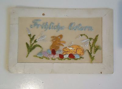 Vintage Antique 1900's HAND STITCHED SEWN EASTER BUNNY Postcard