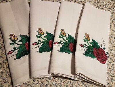 Royal Albert Old Country Roses Embroidered  Napkins (lg Burg, sm gold and pink)