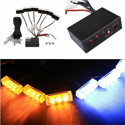 Amber/White 18 LED Emergency Vehicle Strobe Flash Lights for Front Grille/Deck