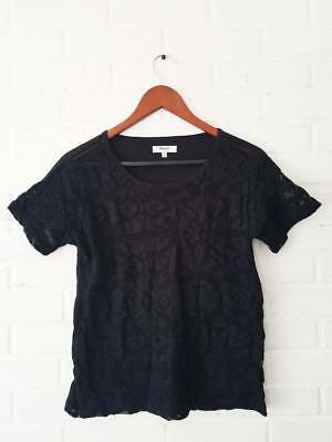 1df48ca5d5d MADEWELL BY J CREW Lace Front Black Knit T Shirt Top Small S  64 Short  Sleeve