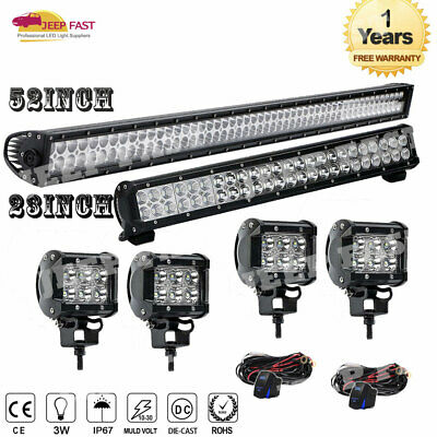 """52""""300W Straight LED Light Bar+23""""+4""""Pods for Roof Fog SUV 4WD UTE FORD"""