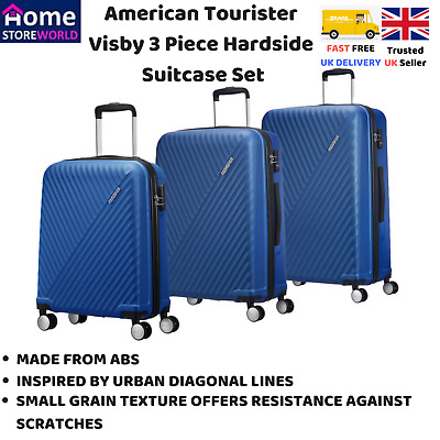 6acf72ab5 New Blue American Tourister Visby 3 Piece Hardside Suitcase Set Wheel  Trolley