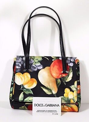 36a6a424131 Vintage D G Dolce   Gabbana Hand Bag Fruit Fabric Purse with Authenticity  Card