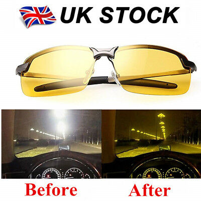 Night Driving Glasses HD Anti Glare Vision Polarized Tinted Unisex Yellow Lens