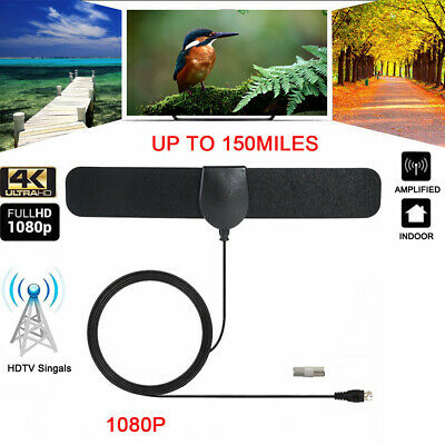 Antenna TV Digital HD 150 Mile Range 1080P 4K 13ft Coax Cable Skywire Indoor