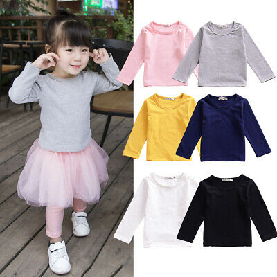 Toddler Boys Girl Long Sleeve Warm Top Cotton Solid T-Shirt Soft Outfits Clothes