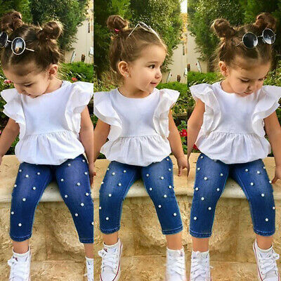 Toddler Kids Baby Girls Outfits Solid T-shirt Tops+Pearl Denim Pants Jeans Set