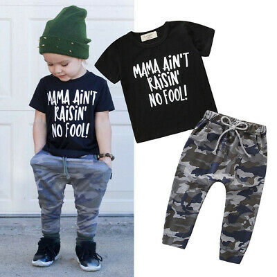 Toddler Kids Baby Girls Boys Outfits Letter T-shirt Tops+Camouflage Pants Set