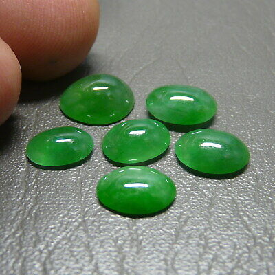 RECOMMEND 6 Pcs 9.25 ct Genuine Jadeite Jade (Type A) Light Green-White Texture