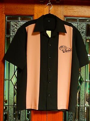 Men's Vintage Chevy Car 50's 60's Rockabilly Charlie Sheen Style Bowling Shirt