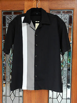 Men's Vintage 50's Rockabilly Charlie Harper / Sheen Style Striped Bowling Shirt