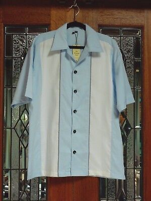 Men's Stripe Vintage 50's  Rockabilly Charlie Harper / Sheen Style Bowling Shirt