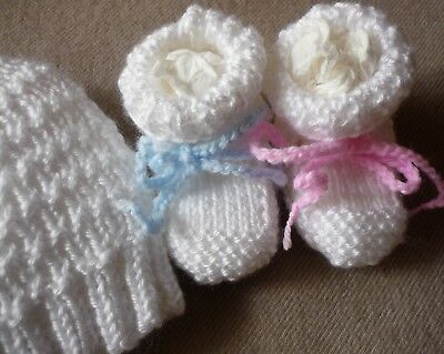Baby Beanie & Booties Set. Hand-knitted by me. White. Soft. Boy or Girl Newborn.