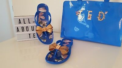 1fc05c7525a4 WOMENS TED BAKER Susziep Flip Flops SEA OF CLOUDS Sandals - EUR 36 ...