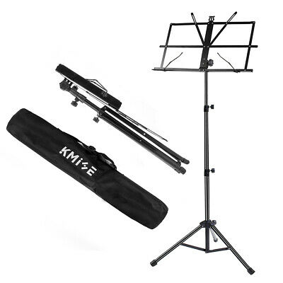 Music Stand Sheet Holder Foldable Adjustable Tripod Base Metal with Carry Bag