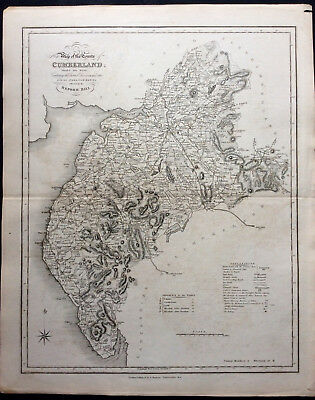 100% Original County Map of CUMBERLAND c1838 by Ebden & J Duncan Scarce Antique