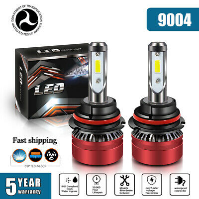 2 Pair 9004/HB1 Hi-Lo Beam LED Headlight 12000LM 6000K Cool White Driving lamps