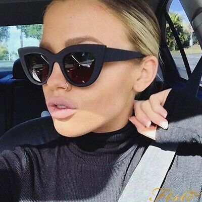 Luxury Ladies Womens Oversized Cat Eye Sunglasses Vintage Style Retro Shades