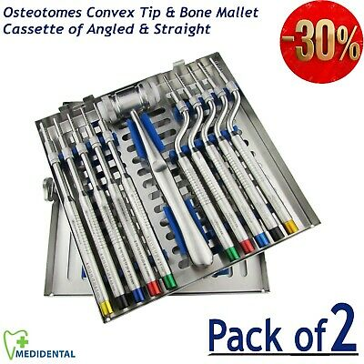 Dental implant Kit Convex Tip Osteotomes Sinus Lift instruments Mead Bone Mallet