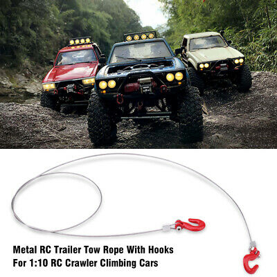 Metal Trailer Tow Rope With Hooks Accessories For 1:10 RC Crawler Climbing Cars