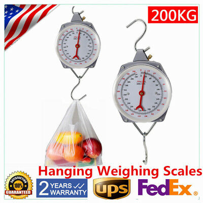 New 200kg Heavy Duty Hanging Weighing Scales with Hook Fishing Scale USA STOCK