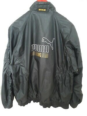 Mens PUMA King Vintage Black  Retro Polyester Tracksuit Top Jacket Size M/L VGC