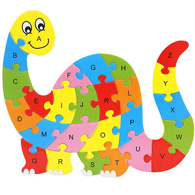 Wooden ABC Alphabet Jigsaw Dinosaurs Puzzle Childrens Educational Learning FO