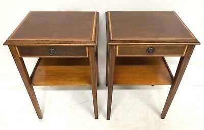 Pair Antique Style Mahogany Bedside Cupboards Cabinets Lamp Stands
