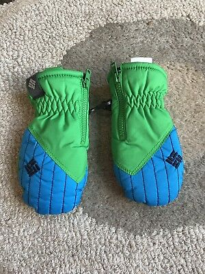 Columbia Infant Mittens One Size Green And Blue EUC