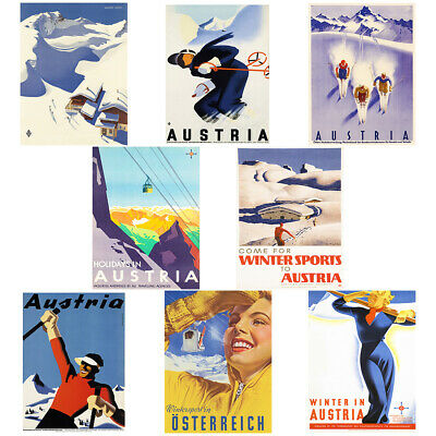 ART PRINT POSTER TRAVEL AUSTRIA SKI LODGE ALPS SNOW NOFL1083