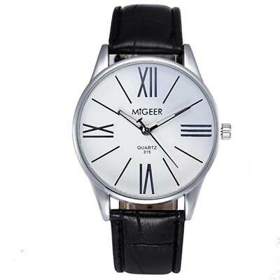 Mens Luxury Fashion Leather Band Analog Watch Quartz Analog Dress Wrist Watches