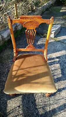 Beautiful Antique, Victorian Walnut? Low Chair, Pretty Carved Patterned Back