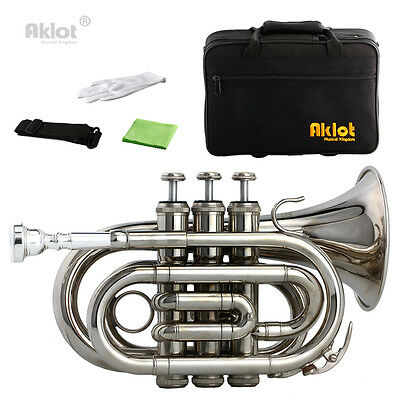 Bb Mini Pocket Trumpet 7C Silver Plated Mouthpiece Nickel Plated Brass Body