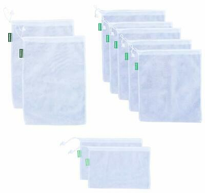 Earthwise Reusable Mesh Produce Bags - See-Through - Set Of 9 - Ultra Strong Lig
