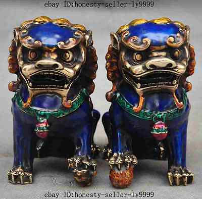 "5"" old chinese bronze Cloisonne town house foo dog lion beast ball statue pair"