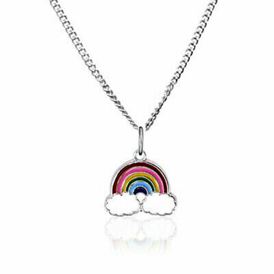 CHILDREN's Girls Jewellery RAINBOW charm Necklace on Sterling Silver Chain