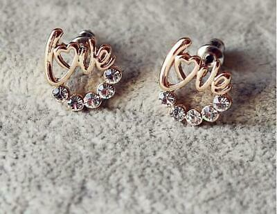 Fashion Ladies Women's Crystal Rhinestone Ear Stud Earrings Love Heart Jewelry