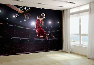 Basketball Player in Action in Gym Wallpaper Mural Photo 38976613 budget paper