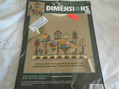 "Vi..1997 Dimensions ""Birdhouse District"" Counted  X-Stitch with Waste Canvas Kit"