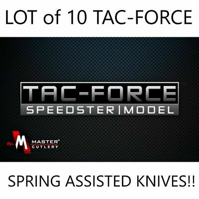 LOT of 10 TAC-FORCE Spring Assisted Opening Folding Pocket Knives Wholesale NEW!