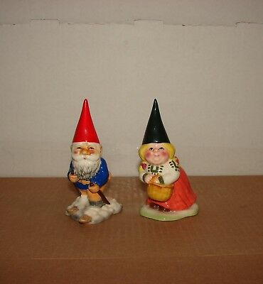 1980 used Lot of 2 Gorham Unieboek Gnome Skiing & Lady with Basket Figurines