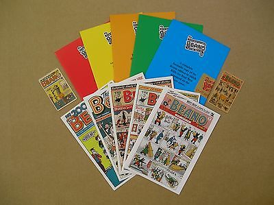 5 reproduction Beano comics of years gone by including folders & phone cards