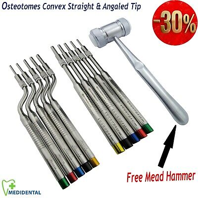 Dental Osteotomes Implant Sinus Lift Convex Tip Surgery Tools FREE Mead Mallet