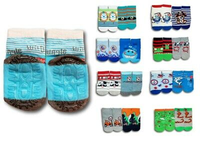 Baby Boys Toddler ABS Anti Non Slip Silicone Sole Cotton Socks 2 Pairs 9m-3Years