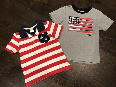 Gymboree 2-piece Red White & Cute Boy Lot - July 4th Patriotic Baseball - 2T